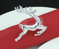 Wholesale Silver Table Napkins - Christmas Deer Napkin Rings Silver Gold Alloy Napkin Buckle Holder Hotel Wedding Party Table Decoration