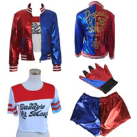 Wholesale cosplay dc comics for sale - 4PCS Full Set DC Comics Suicide Squad Harley Quinn Costume Outfit Movie Halloween Christmas Cosplay party suit uniform