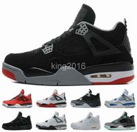 Wholesale Iv Training - 2016 Retro 4 IV Mens Basketball Shoes Black Red High Quality Men Outdoor Retros 4s Sport Shoes Training Boots Athletic Sneakers Size 8-13