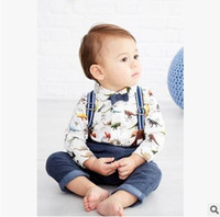 Wholesale Gentleman Suspender Pants - 2016 New Baby Boys Clothes kids Cartoon Clothing Sets Autumn Dinosaur Long Sleeve Top+Suspender Pants Kids Gentleman Sets 7327