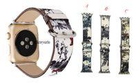 китайская картина пейзажа оптовых-Для Apple watch ремешок пейзаж пейзаж китайская живопись кожа обезьяна смотреть кожаный ремешок iwatch ремешок 38 мм 42 мм