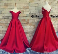Wholesale One Piece Bridal Gown - Dark Red Satin Prom Ball Gowns Off Shoulder Lace Up Belt Real Photos 2016 Vintage Bridal Party Evening Wears Special Occasion Gowns Cheap