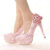 Wholesale High Heels Platform Rose - Fashion Pink Lace Bride Shoes Rhinestone Rose Flower High Heel Wedding Shoes Platform Round Toe Princess Pumps Prom Shoes