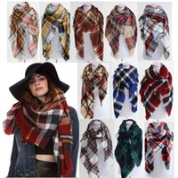 Wholesale Colored Scarves - 5pcs Lady Blanket Bulk Scarf Tartan Grid Plaid Scarves Christmas Party Cozy Wrap Shawl Multi-Colored For Women Ladies Blogger Favorite
