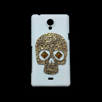 Wholesale Cover Case Xperia T - Unique Punk Stud Rivet Spike 3D Retro Bronze Metallic Skull Skeleton Back Hard Plastic Protective Case Cover for Sony Xperia T LT30i LT30p