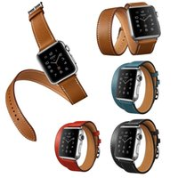 Wholesale Double Tour - Wholesale-Luxury Extra Long Leather Band Double Tour Bracelet Leather Strap Watch band In Stock