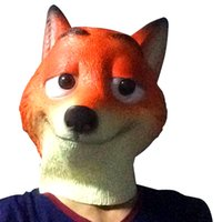 Wholesale Design Headgear - PrettyBaby Zootopia Fox Nick design headgear high quality safety silicone mask kids jokes toys cosplay party 100pcs Lot free shipping