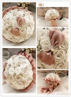 Wholesale First Class Shipping - Newest Wedding Bouquets Luxury Artificial Roses With Beaded Flowers Cute Bow First Class Quality Free Shipping Brides Bouquets SH140925