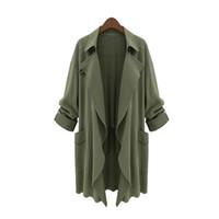 Wholesale Trench Coat Women Basic - 5XL Plus Size Women Trench Coat Winter Loose Casual Basic Windbreaker Irregular Solid Thin Harajuku Cardigan Coat Lady Fashion Outwear
