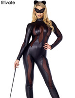Wholesale Sexy Lingerie Halloween Party Cosplay - Wholesale-Women Sexy Cosplay Black Leather Lingerie Club party Bodysuits Erotic Halloween Hollow Jumpsuit Bat Catsuit Catwomen Costume