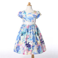 Wholesale Wholesale Show Girl Clothing - 2-10years Baby Girl Dress Clothes Floral Print Girls Dress Summer 2016 Costume Casual Clothes show free shipping