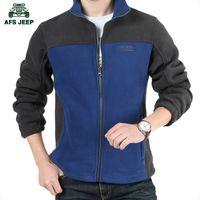 Wholesale Gray Wool Jacket High Collar - Fall-High quality original polar fleece afsjeep brand men leisure outdoor wool color matching jacket standing collar jacket M - 4 xl