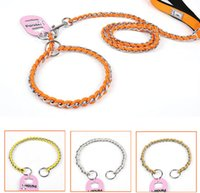 Solid Steel Dog Training Collar Top Quality Pet Slip Chain Small Middle Cheap Pets Colar 4 cores 2 Size Mix Order Min Order 8PCS