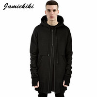 ingrosso hoodies britannico stile-All'ingrosso-Jamickiki British Style Men's Plus Long Assassin Sleeve Side Zippers Felpe con cappuccio Uomo Hip Hop High Street Black Hooded Hoodies Uomo