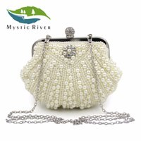 Wholesale Pearl River - Mystic River Women Fashion Shell Shape Party Pearl Clutch Bag Rhinestone Cocktail Shoulder Evening Purse Handbag With Chain