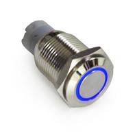 ingrosso pulsante 16mm 12v-2Pcs Interruttore a pulsante 16mm 12V ON OFF LED blu Angel Eyes Interruttore a pulsante in metallo ON-OFF per interruttore di illuminazione per automobile. Universale
