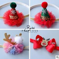 Wholesale Christmas Ornaments Photos - Baby Christmas Headband Elastic Princess Girls Headbands Photo Props Infant Newborn Baby Hair Ornaments Lovely Xmas Kids Hair Accessories
