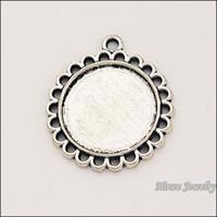 Wholesale Vintage Metal Necklace Frames - 10 pcs Vintage zinc alloy Antique Silver charm circular frame pendant DIY fit Bracelet Necklace metal jewelry accessories Making