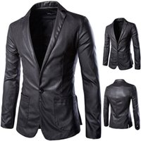 Wholesale Mens Suits Mandarin - 2016 New style fashion mens leather jacket brand leather blazers men slim fit suit jacket X22