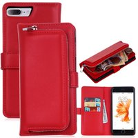 Pour iphone 7 Cas 6 6plus multi-fonctionnel Aimant 2in1 détachables Case zipper Couverture amovible en cuir Wallet Pour iPhone6 ​​7 plus SCA199