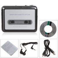 Wholesale Cassette Tape Mp3 Player - Hot USB Portable Tape-to-MP3 Auto Reverse-Stereo-Hi-Fi-Mega Bass Cassette Player Converter Transfer with Headphone & Installation CD EGS_033