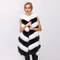 Wholesale Stripped Vest - free shipping 2017 winter new real fur vest fox fur vest natural arctic fox vest White fox 80cm