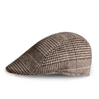 Wholesale Gatsby Costumes - Wholesale-Classic plaid Wool blend Felt Vintage Mens Beret Cap Cabbie Newsboy Flat Caps Gatsby Driver Beret Hat