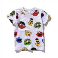 Wholesale Elmo Boys - 2016 New Sesame Street Kids Children Tee Shirt Elmo T-shirt Red Cartoon Print Short Sleeve Dress Boys Girls Baby Cotton Summer Shirt 6 sizes