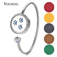 Wholesale Locket Sets - 25mm Aromatherapy Perfume Diffuser Locket Stainless Steel Bangle Fit 18mm Felt Pads Paw without Felt Pads VA-588