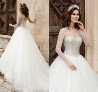 Wholesale Pure White Crystal Wedding Dresses - Princess Ball Gown 2018 Crystal Wedding Dresses Pure Ivory Long Sleeves Key Hole Lace Up Pearls Bodic Arabic Bridal Gowns