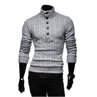 Wholesale yellow color wool winter coat - Wholesale- Mens Sweaters 2017 New Men Fashion Winter Coat Long-Sleeved Sweater Male Jacket Casual Sweater High Collar Men Sweater Size XXL