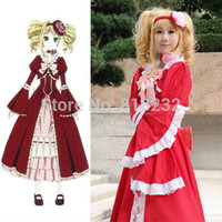 Wholesale Butler Outfit - Wholesale-Black Butler Kuroshitsuji Elizabeth Midford Formal Dress Uniform Outfit Anime Cosplay Costumes