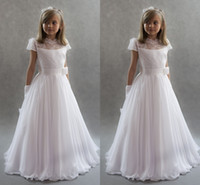 Wholesale Tiered Chiffon Flower Girl Dresses - White Princess Flower Girls Dresses For Weddings 2017 High Neck Cap Sleeves Lace Chiffon Floor Length First Communion Dresses Kids Party Dre