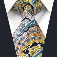 Wholesale men striped neckties - A15 Multicolor Striped Paisley Silk Jacquard Woven Classic Fashion Mens Necktie Tie extra long size
