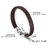 Wholesale Hot Coffee Beads - Hot sale punk rock PU leather bangle bracelet men jewelry black coffee white color bracelets&bangles for men Cheap jewelry elephant