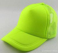 Wholesale Sun Hats Spots - NEON Fluorescent Mesh Plain Blank Trucker baseball hat cap 6 color spot color fluorescent color baseball cap cap adult male Ms. sun hat