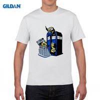 Wholesale Despicable Doctor - Fashion Newest Doctor Who T-shirt Men's Funny Despicable Me Minions In The Police Box Printing Tee Tops Camisetas Clothing