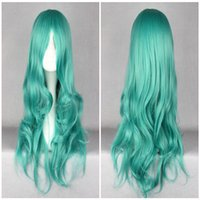 Wholesale Sailor Moon Green Hair - Classical Anime Pretty Soldier Sailor Moon Kaiou Michiru 70cm Long Green Wave Synthetic Hair Costume Wig