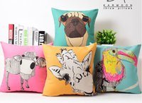 Grey Watching Puppy Dog Vivid Kawaii POP ART Funda de Almohada Decorativa Euro almohadas de viaje Emoji Home Decor Vintage regalo