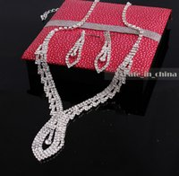Wholesale Drop Earring Supplies - 2016 Fashion Jewellery Sliver Plated Rhinestone Necklace Earrings Bridal Accessory Crystal wedding supplies