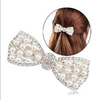 Wholesale Wholesale Decorating Wedding Pearls - Hot Sale Fashion Women Crystal Bow Hair Clip Girl Pearls Hairpin Gold Sliver Decorate Accessories 10PCS Lot 10PCS Lot