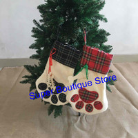 Wholesale Wholesale Socks Designs - Free shipping 2017 New design Pet animal Plaid Dog paw Christmas stockings X-mas gift socks Children's gift bags