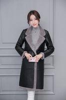 Wholesale Large Lapel Leather - Womens Autumn Winter Warm Thick Slim Long Faxu Leather Coats Ladies Fashion Plus Velvet Flocking Large Lapel Long Sleeve Outerwear Coat