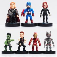 Wholesale Toy Iron Ball - The Avengers 2 Age of Ultron Hawkeye Black Widow Hulk Iron Man Thor Captain America PVC Action Figures Toys 8cm 7pcs set