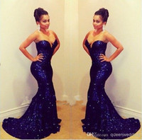 Wholesale Backless Sparkling Dress - Sparkling Sweetheart Sleeveless Mermaid Long Deep Blue Sequined Lace Prom Dresses evening dress 2016 Short Trailing