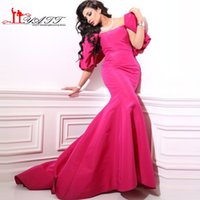 Wholesale Dresses Occasional - Hot Pink Sexy Mermaid Cute Big Bow Vintage Arabic Formal Long Evening Prom Dresses 2016 Special Occasional Gown