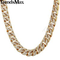 Wholesale womens bling - Wholesale- Trendsmax 14mm Bling Hiphop Iced Out Curb Cuban Gold-color Necklace w Paved Clear Rhinestones Mens Womens Chain Jewelry GN432