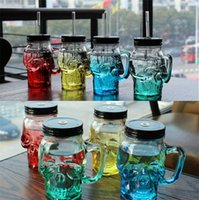 Wholesale Colored Glass Mugs - glass Cups Milk mug wine Cup Cold Drinking Cups Skull Head cups Led Colored Glass Wine glasses 4021