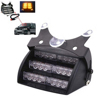 50SET / LOT Amber 18 LED 12V LED Strobe Emergency Flashing Warning Light + Car Cigarette Adapter + Frete grátis