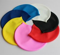 Wholesale Cool Caps For Women - Silicone Swimming Caps For Adult New 2016 Solid Color Swimming Caps For Men And Women With OPP Package